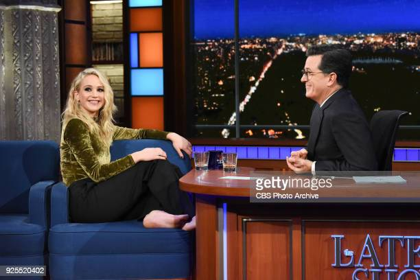 The Late Show with Stephen Colbert and guest Jennifer Lawrence during Monday's February 26 2018 show