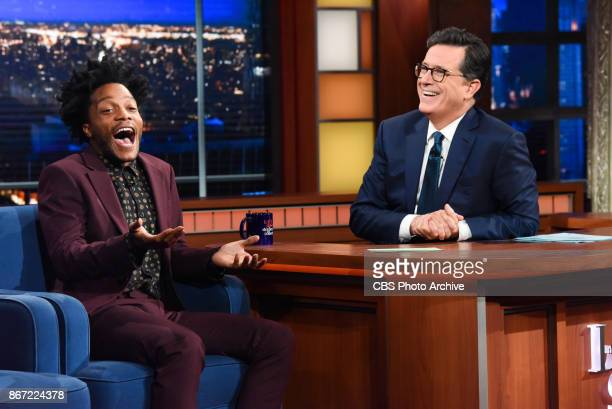 The Late Show with Stephen Colbert and guest Jermaine Fowler during Thursday's October 26, 2017 show.
