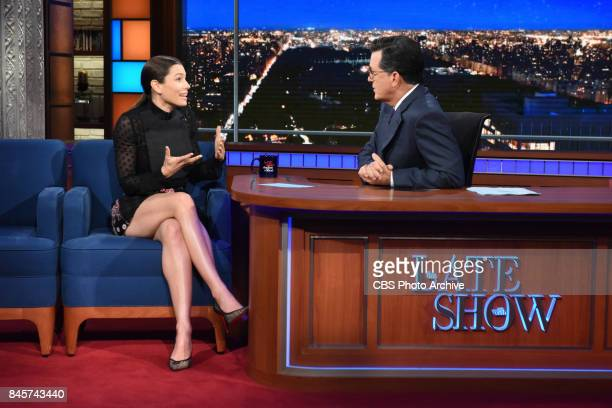 The Late Show with Stephen Colbert and guest Jessica Biel during Friday's September 8 2017 show