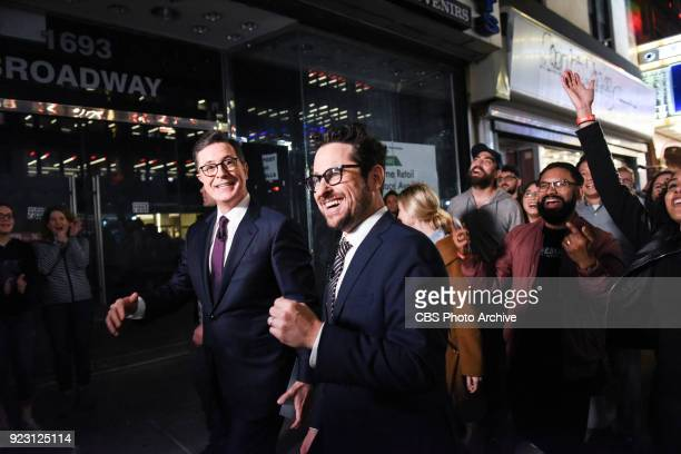 The Late Show with Stephen Colbert and guest JJ Abrams during Wednesday's February 21 2018 show