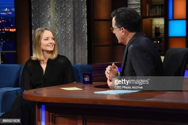 The Late Show with Stephen Colbert and guest Jodi Foster during Friday's December 15 2017 show