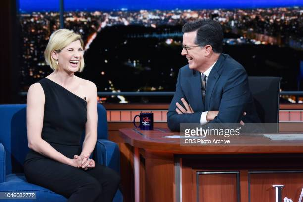 The Late Show with Stephen Colbert and guest Jodie Whittaker during Wednesday's October 3 2018 show