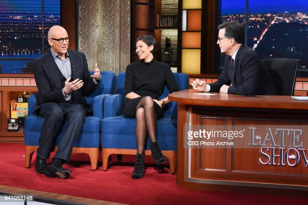 The Late Show with Stephen Colbert and guest John Heilemann and Alex Wagner during Thursday's March 29 2018 show