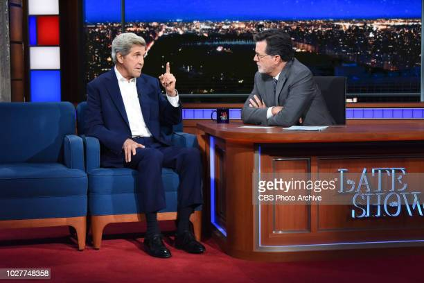 The Late Show with Stephen Colbert and guest John Kerry during Wednesday's September 5 2018 show