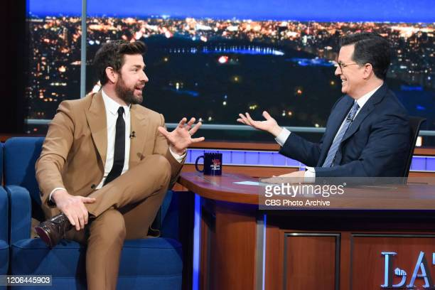 The Late Show with Stephen Colbert and guest John Krasinski during Monday's March 9 2020 show