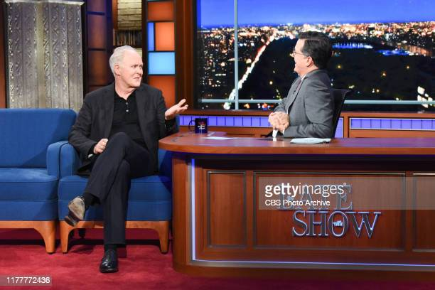 The Late Show with Stephen Colbert and guest John Lithgow during Tuesday's October 22 2019 show