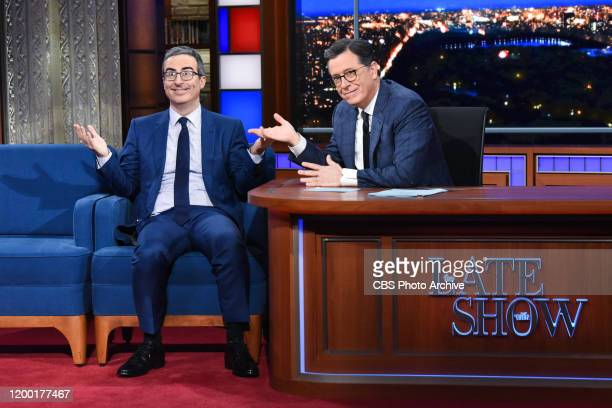 The Late Show with Stephen Colbert and guest John Oliver during Monday's February 10, 2020 show.