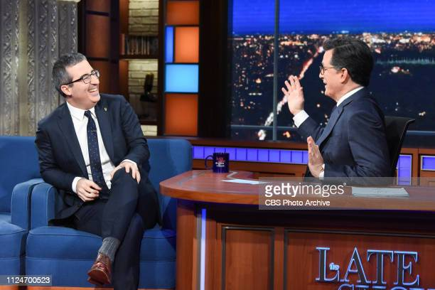 The Late Show with Stephen Colbert and guest John Oliver during Monday's February 11 2019 show
