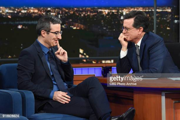 The Late Show with Stephen Colbert and guest John Oliver during Wednesday's February 7 2018 show
