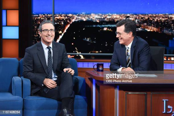 The Late Show with Stephen Colbert and guest John Oliver during Friday's July 19, 2019 show.