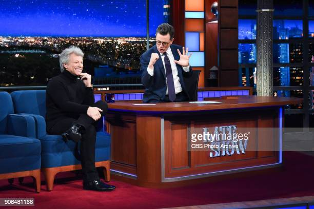 The Late Show with Stephen Colbert and guest Jon Bon Jovi during Tuesday's January 16 2018 show