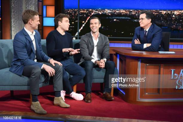 The Late Show with Stephen Colbert and guest Jon Favreau, Jon Lovett, Tommy Vietor during Tuesday's October 23, 2018 show.