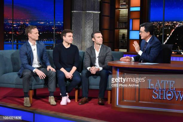 The Late Show with Stephen Colbert and guest Jon Favreau Jon Lovett Tommy Vietor during Tuesday's October 23 2018 show