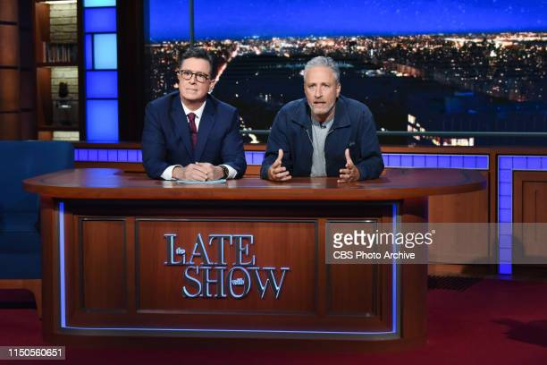 The Late Show with Stephen Colbert and guest Jon Stewart during Monday's June 17 2019 show