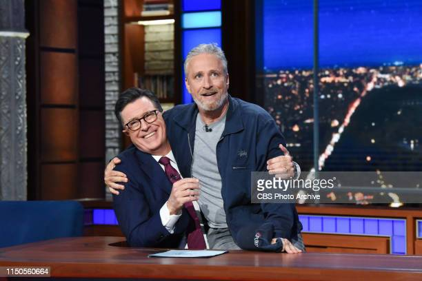 The Late Show with Stephen Colbert and guest Jon Stewart during Monday's June 17, 2019 show.