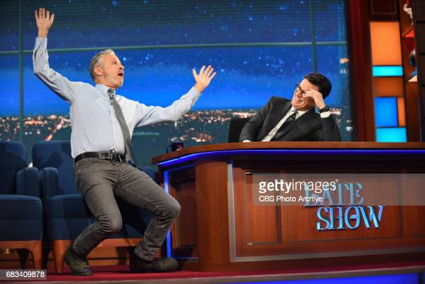 The Late Show with Stephen Colbert and guest Jon Stewart during Tuesday's May 9 2017 show