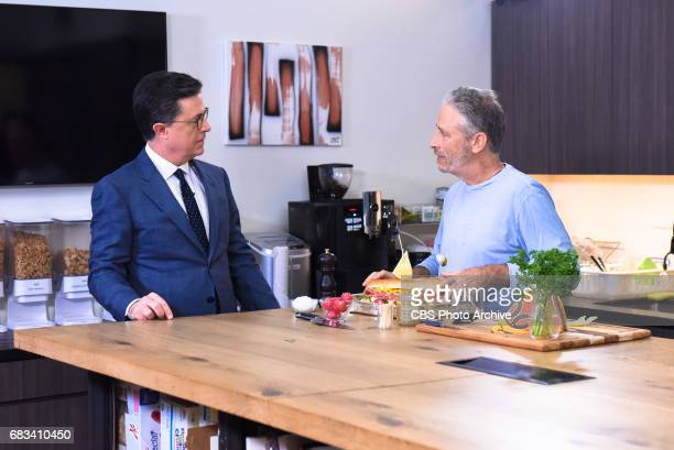 The Late Show with Stephen Colbert and Guest Jon Stewart during Tuesday's May 9 2017 show in New York