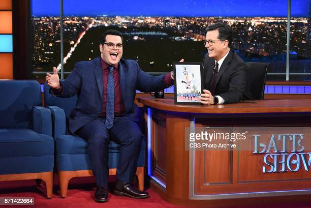 The Late Show with Stephen Colbert and guest Josh Gad during Monday's November 6, 2017 show.