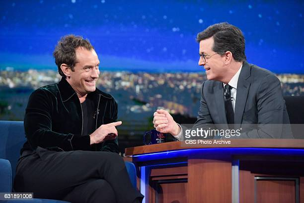 The Late Show with Stephen Colbert and guest Jude Law during Wednesday's 01/11/16 show in New York