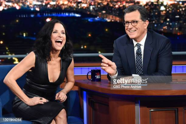 The Late Show with Stephen Colbert and guest Julia Louis-Dreyfus during Tuesday's February 11, 2020 show.