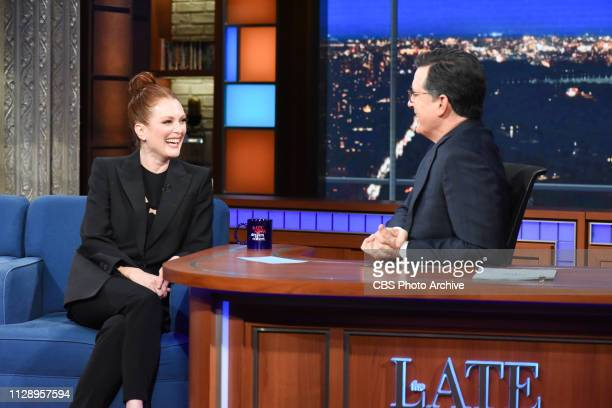 The Late Show with Stephen Colbert and guest Julianne Moore during Monday's March 4 2019 show