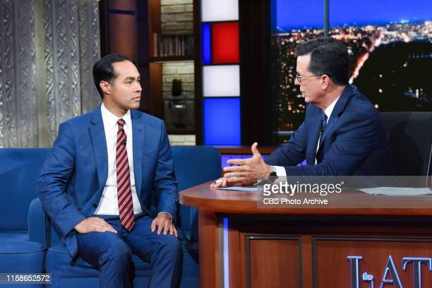 The Late Show with Stephen Colbert and guest Julián Castro during Tuesday's July 23 2019 show