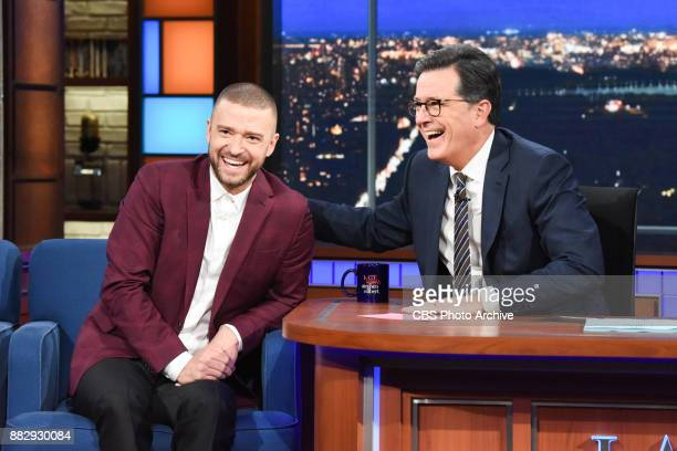 The Late Show with Stephen Colbert and guest Justin Timberlake during Thursday's November 29 2017 show