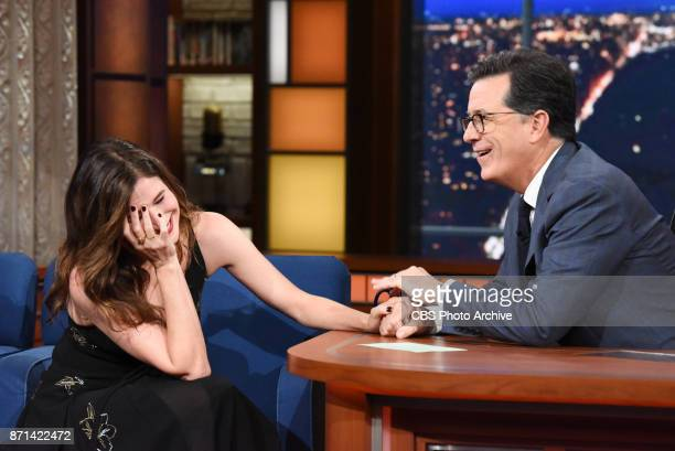 The Late Show with Stephen Colbert and guest Kathryn Hahn during Thursday's November 2 2017 show