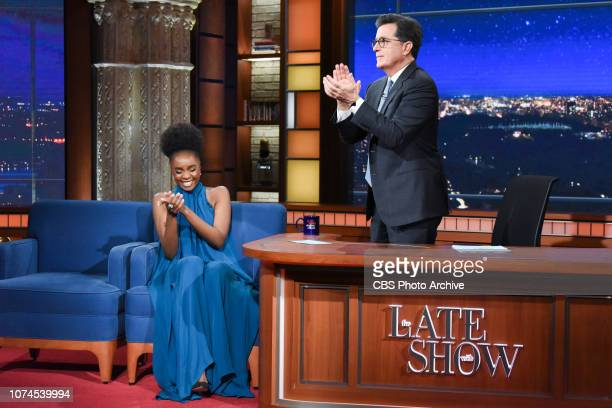 The Late Show with Stephen Colbert and guest KiKi Layne during Wednesday's December 19, 2018 show.