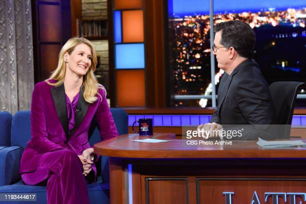 The Late Show with Stephen Colbert and guest Laura Dern during Friday's January 10 2020 show