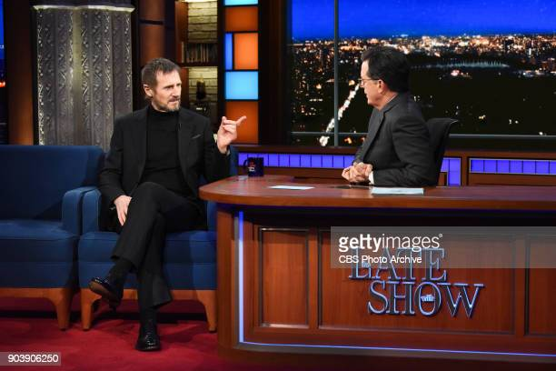 The Late Show with Stephen Colbert and guest Liam Neeson during Monday's January 8 2018 show