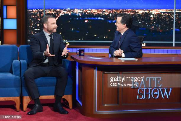 The Late Show with Stephen Colbert and guest Liev Schreiber during Tuesday's November 12 2019 show