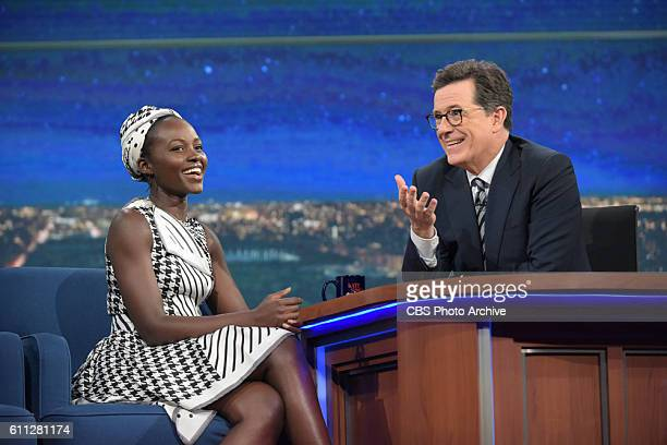 The Late Show with Stephen Colbert and guest Lupita Nyong'o during Wednesday's 9/28/16 show in New York