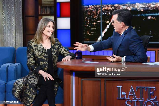The Late Show with Stephen Colbert and guest Marianne Williamson during Monday's July 22, 2019 show.