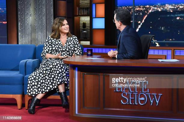 The Late Show with Stephen Colbert and guest Mariska Hargitay during Wednesday's May 1 2019 show