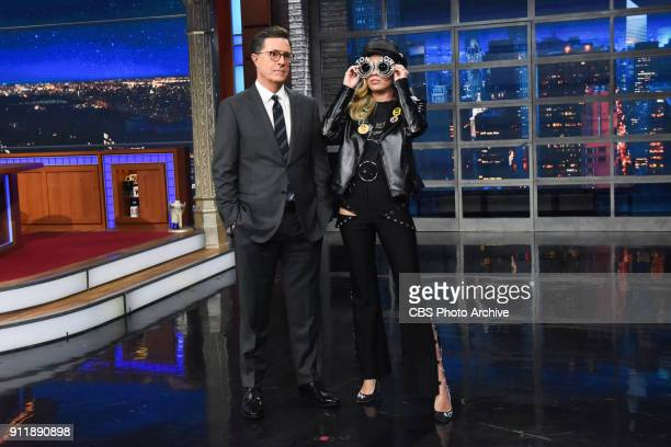 The Late Show with Stephen Colbert and guest Miley Cyrus during Friday's January 26 2018 show