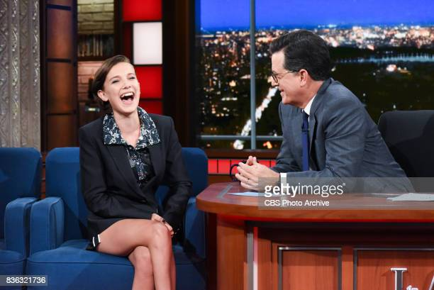 The Late Show with Stephen Colbert and guest Millie Bobby Brown during Thursday's August 10 2017 show