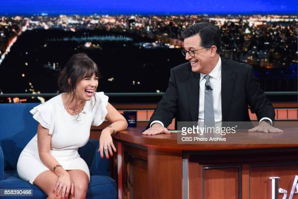 The Late Show with Stephen Colbert and guest Natasha Leggero during Tuesday's October 3 2017 show