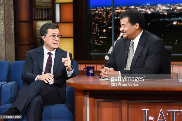 The Late Show with Stephen Colbert and guest Neil DeGrasse Tyson during Tuesday's November 27 2018 show