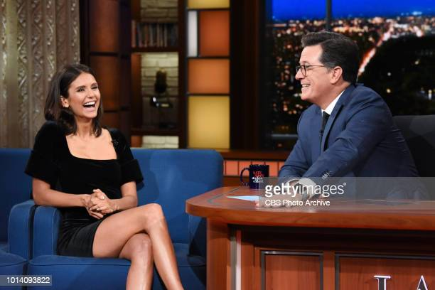 The Late Show with Stephen Colbert and guest Nina Dobrev during Wednesday's August 8 2018 show