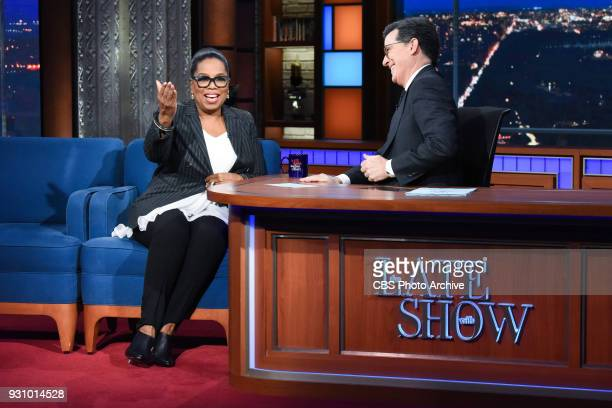 The Late Show with Stephen Colbert and guest Oprah Winfrey during Tuesday's March 6 2018 show
