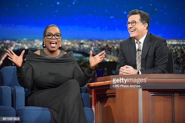 The Late Show with Stephen Colbert and guest Oprah Winfrey during Tuesday's 01/03/16 show in New York