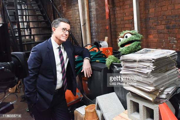 The Late Show with Stephen Colbert and guest Oscar the Grouch during Tuesday's April 9 2019 show