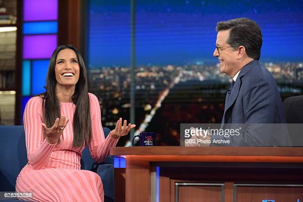 The Late Show with Stephen Colbert and guest Padma Lakshmi during Monday's 12/05/16 show in New York