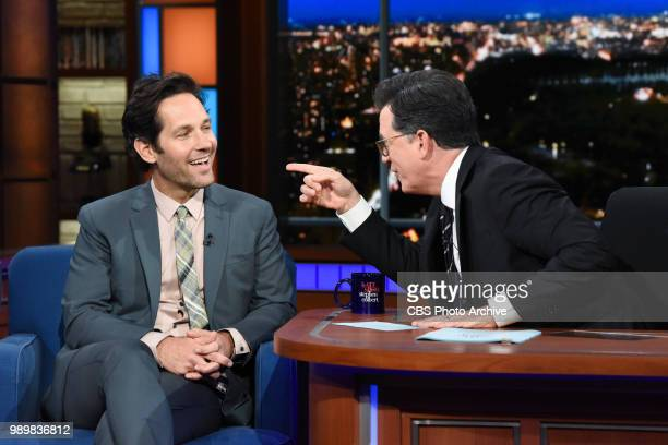 The Late Show with Stephen Colbert and guest Paul Rudd during Wednesday's June 27 2018 show