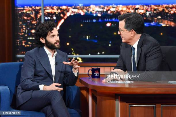 The Late Show with Stephen Colbert and guest Penn Badgley during Thursday's January 9 2020 show