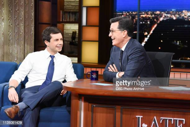 The Late Show with Stephen Colbert and guest Pete Buttigieg during Thursday's February 14 2019 show