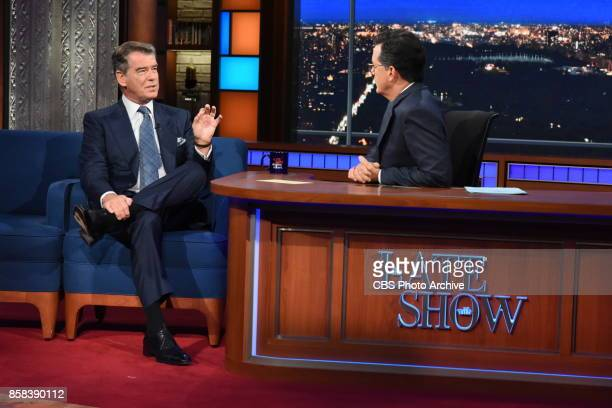 The Late Show with Stephen Colbert and guest Pierce Brosnan during Monday's October 2 2017 show