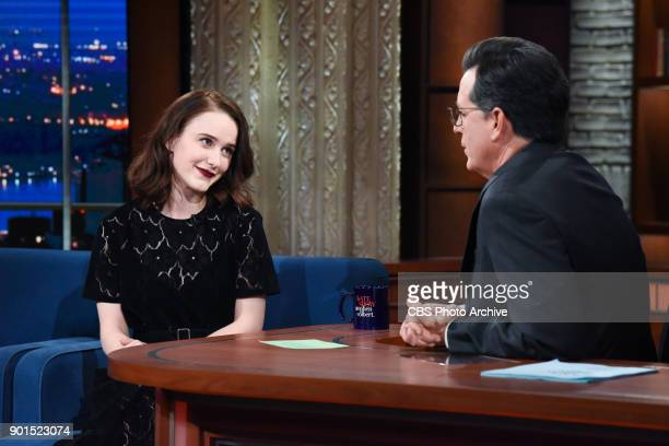 The Late Show with Stephen Colbert and guest Rachel Brosnahan during Thursday's January 4 2018 show
