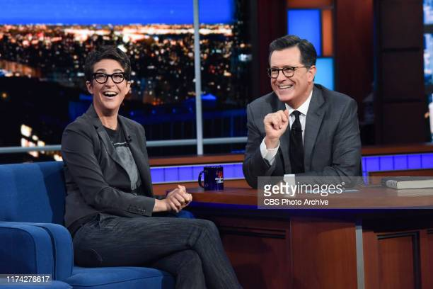 The Late Show with Stephen Colbert and guest Rachel Maddow during Tuesday's October 1 2019 show
